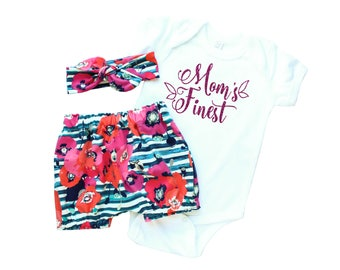 Moms Day Outfit - Mothers Day Baby Outfit - Newborn Girl Mothers Day Outfit - Floral Bloomers and Headband - Floral Leggings and Headband