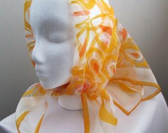 Beautiful 1960s semi-sheer chiffon abstract floral scarf - free US shipping!
