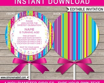 Lollipop Invitation Template - Printable Lollipop Birthday Party Invitations - 4 inch diameter - INSTANT DOWNLOAD with EDITABLE text