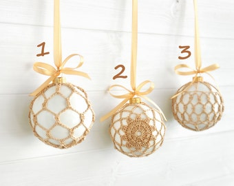 Christmas in July - Beige Lace Ornament - White Lace Ornament - Christmas Ornament - Crochet Christmas Ornament - Crochet Holiday Decor