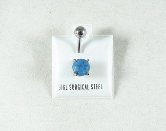 Belly Ring Turquoise Stone,   Womens Gift  Handmade