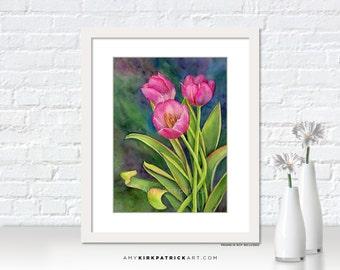 Pink TULIP Painting, Pink Tulip Prints, Tulip Greeting Cards, Tulip Original Watercolor Painting, Tulip Wall Decor, Tulips, Pink Tulip Twist