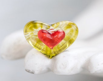 Glass Heart Ring - murano Hearts in Yellow and Red - Ring Size 5