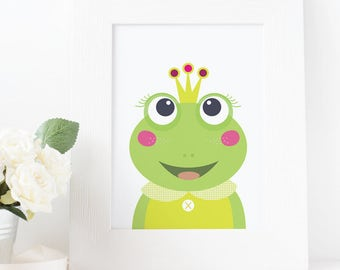 Green frog nursery, nursery decor, princess frog, frog nursery art, nursery wall art, nursery art, frog wall art, kids room decor, art print