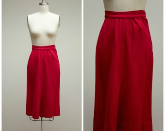 Vintage 50s Skirt • Ruby Romance • Berry Red Wool 50s Pencil Skirt Size Small