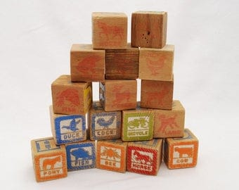 "Vintage 1940's ABC Wood Stacking Blocks Lot of 17 Alphabet Letter Blocks - 1 1/4"" Square Cubes - Carved Letters - Stamped Ink Letters"