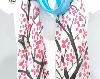Skinny Scarf, Silk Summer Scarf, Handpainted Scarf, Silk Sash, Scarf Gift for Wife, Red Plum Blossoms under the Blue Sky, 5x72 inch