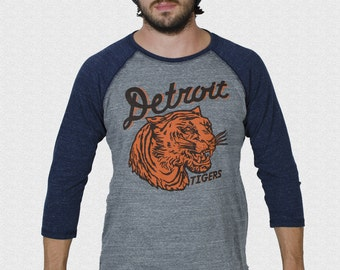 Detroit Tigers Shirt 1935 penant inspired design 3/4 sleeve raglan 1935 Penant World Series Champion Logo USA Made Opening Day 2017