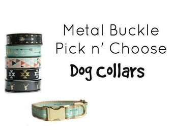 Create your Dog Collar, Metal Buckle, Adjustable