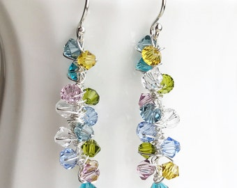 Colorful Dangle Earrings Sterling Silver