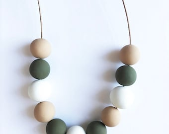 Natural Beaded Necklace Neutral Colors