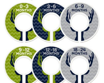 Closet Dividers, Assembled, Baby Closet Dividers, Closet Organizers, Boy, Deer, Antlers, Navy, Lime Green, Grey, Woodland Nursery Decor Boy