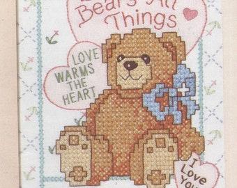 Love Bear STAMPED Cross-Stitch Kit