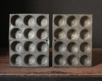 Vintage mini muffin tins, mini cupcake tin, one pair muffin molds, mini muffin mold, desk organizers