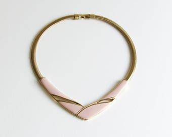 Trifari Pink & Gold Enamel 80s Modernist Bib Necklace Choker