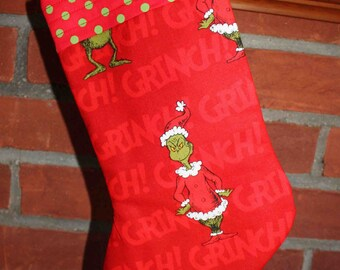 Red Grinch Christmas Stocking