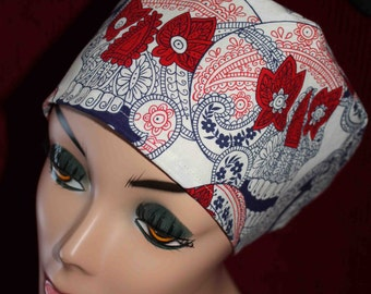 Red, White and Blue Skulls Surgical Cap (biker/chemo/surgical)