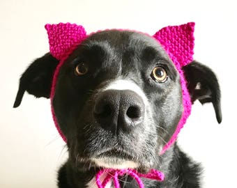 Pink Feminist Pussy Hat Dog Costume - Hand Knit Dog Hat - Pussy Hat Dog Costume - Women's March Hat for Dogs