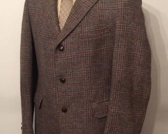 Vintage MENS JoS. A. Bank Clothiers 3 button brown, blue, rust & grey plaid tweed jacket, sport coat or blazer