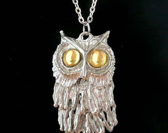 Owl Necklace Movable Yellow Stone Eyes Large Vintage