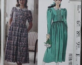 Vintage McCall 4431 Laura Ashley 1980s 80s Prairie Girl Pullover Midi Maxi Dress Vintage Sewing Pattern  Size 16 Bust 38