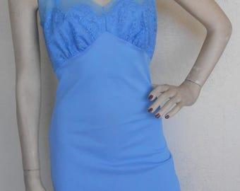 Vintage Full Slip Blue Lace by Rogers Size 32 Slip Dress