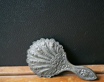 Vintage Hand Mirror / Vintage Small Metal Hand Mirror / Shell Mirror / Vanity Decor