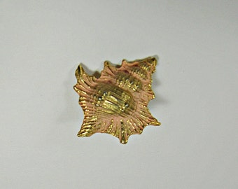 Vintage PINK SEASHELL BROOCH Rosegold Enamel Beach Pin Signed