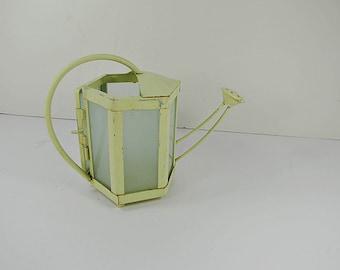 Vintage WATERING CAN CANDLEHOLDER Cream Metal & Frosted Glass Votive Tea Light Pillar Garden Patio Porch