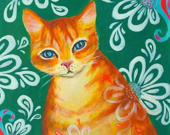 Orange Cat Art Print Cat Art Orange Cat Giclee Canvas Giclee Cat Decor Cat Wall Art Home Decor Animal Art Cat Art Print