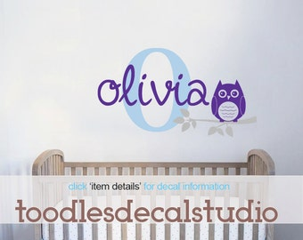 OWL Wall Decal, Personalized Nursery Kids Sticker, Owl Vinyl, Gender Neutral owl Art, Boys Owl Decal, Girls Owl Decal, Large Name Decal