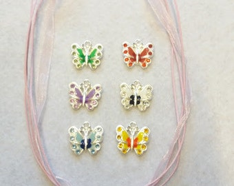 10 Multicolor Butterfly Necklaces Party Favors