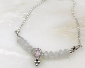 Pink Opal and Moonstone Necklace | Valentines Day Gift | Gemstone Jewelry | Pink Necklace | Crystal Jewelry