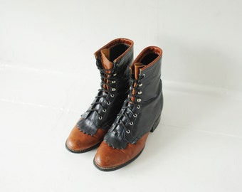 Vintage Laredo Navy Blue & Brown Leather Roper Boots, Made in USA, Womens 6 / ITEM176