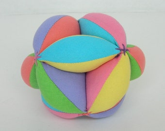Baby Shower Gift - Amish Puzzle Ball - Sectioned Soft Ball - Montessori Learning Toy - Clutch Grab Ball - Toddler Learning Stages of  Play