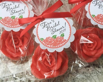 10 ROSE SOAP FAVORS - Rose Bridal Shower Favors, Soap Roses, Wedding Soap Favors, Cottage, Valentine's Day, Mothers Day, Kate Spade Inspired