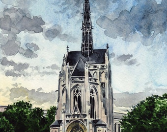 Heinz Chapel Giclee Print of Watercolor University of Pittsburgh Pennsylvania Architecture Wedding Cathedral of Learning Pitt Three Rivers