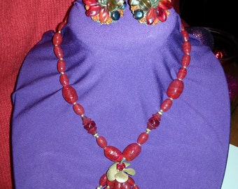 MIRIAM HASKELL Red Glass Necklace and Earrings Set Signed and Rare
