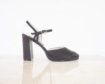 90s Black Satin Peep Toe Pumps / Women's Size 8 US - 38/39 Eur - 6 UK