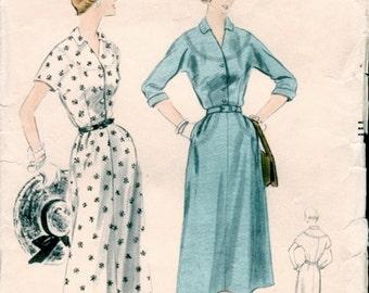 Super Vintage 1950s Vogue 7955 Yoked Kimono Sleeve Shirt-Dress Sewing Pattern B34