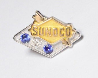 Vintage 14K White and Yellow Gold Sunoco Years of Service Pin