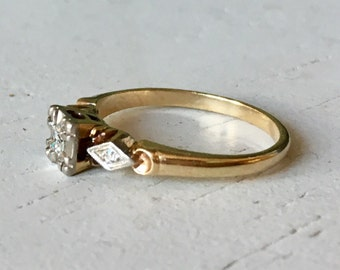 Classic Diamond Engagement Ring - Three Stone Ring - 14k White and Yellow Gold Ring