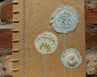 Aqua flowerpops - Coptic bound handcrafted unlined journal or sketchbook