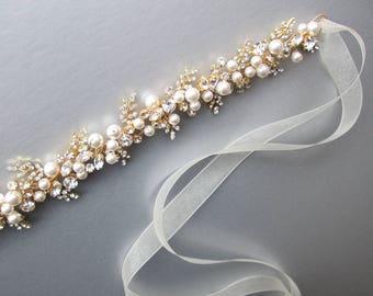 Bridal belt, Swarovski crystal and pearl belt, Rhinestone wedding belt in gold, silver, rose gold, Bridal belt sash, Swarovski wedding belt