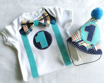 1st Birthday Party Teal, Navy and Plaid Birthday Bodysuit First Birthday Boy Party Hat and Bodysuit Party Outfit