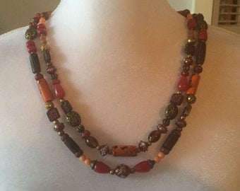 2 Strand Repurposed Red Orange Brown Venetian Wedding Glass Bead Boho Elegant Necklace
