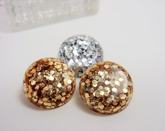 """Lucite Confetti Buttons  5/8"""" Gold & Silver 3 Vintage Glitter Buttons"""