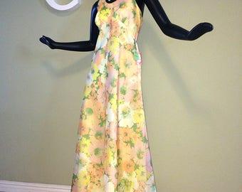 Vintage 70 Prom Dress Hippie Boho Halter Maxi Dress Sweet 1970s Wedding Bridesmaid Formal Yellow Orange Floral Flower Deadstock NWT NOS Mint
