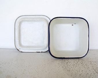 Enamelware Refrigerator Box with Lid White Black Rim Enamel Container