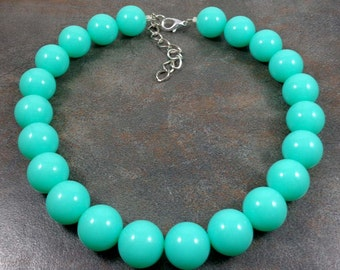 Statement Necklace, Big Necklace, Chunky Necklace, Mint, Blue, Beaded Necklace, Round Bead Necklace, Big Bead Necklace, Gumball